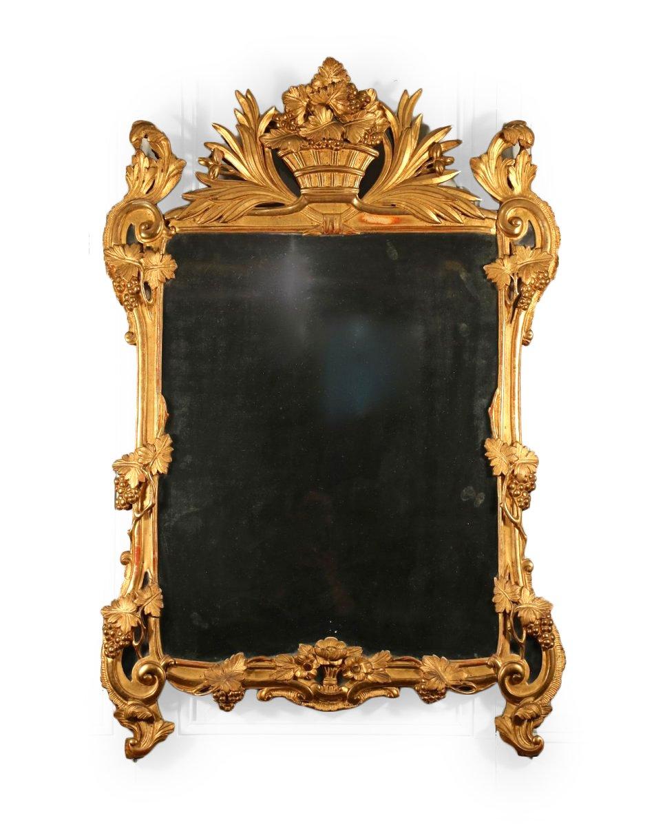 miroir poque louis xv bois sculpt et dor provence xviiie si cle. Black Bedroom Furniture Sets. Home Design Ideas