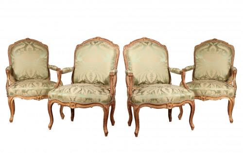 """Set of four """"à la Reine"""" armchairs stamped Tilliard"""