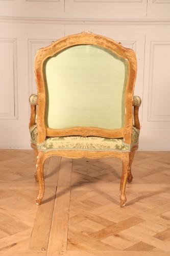 """18th century - Set of four """"à la Reine"""" armchairs stamped Tilliard"""