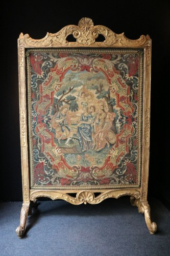 French Regence - Large fire screen in gilt wood