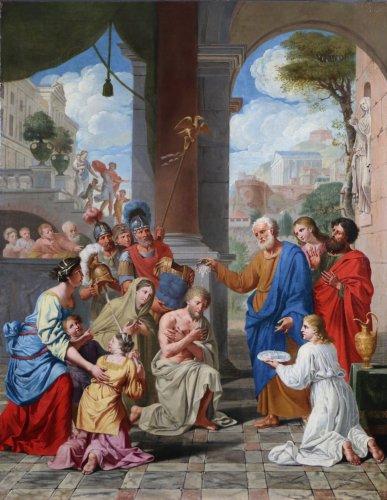 Michel ii corneille (1642-1708)-le baptême du centurion corneille par saint pierre - Paintings & Drawings Style Louis XIII