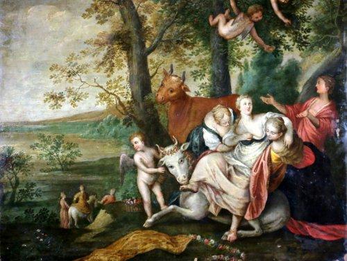 Abraham govaerts (1589-1626) atelier-l'enlèvement d'ariane-grande huile sur cuivre