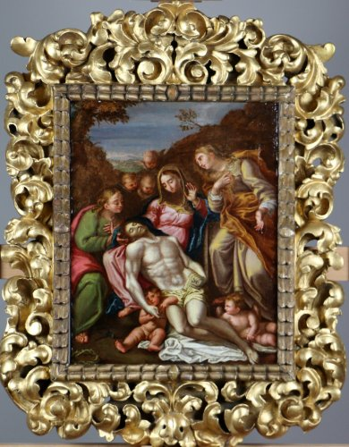 Flemish school from the seventeenth pietà with saint john and mary magdalen