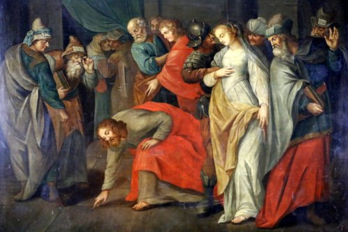 Workshop of Ambrosius Francken I (1544-1618) - Christ and the woman adultery