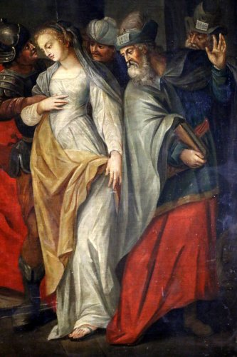Paintings & Drawings  - Workshop of Ambrosius Francken I (1544-1618) - Christ and the woman adultery