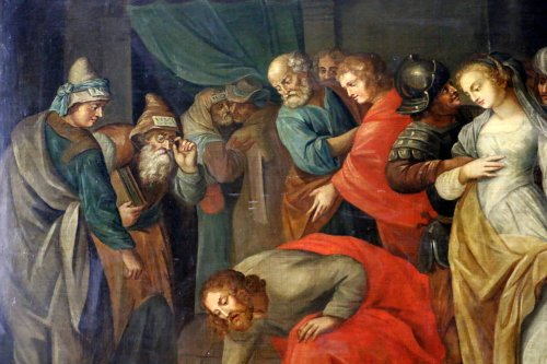 Workshop of Ambrosius Francken I (1544-1618) - Christ and the woman adultery -