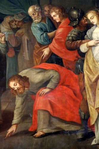 17th century - Workshop of Ambrosius Francken I (1544-1618) - Christ and the woman adultery