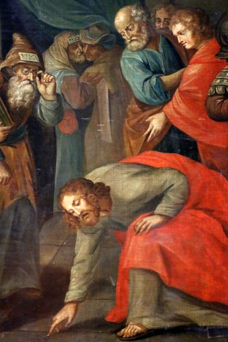 Antiquités - Workshop of Ambrosius Francken I (1544-1618) - Christ and the woman adultery