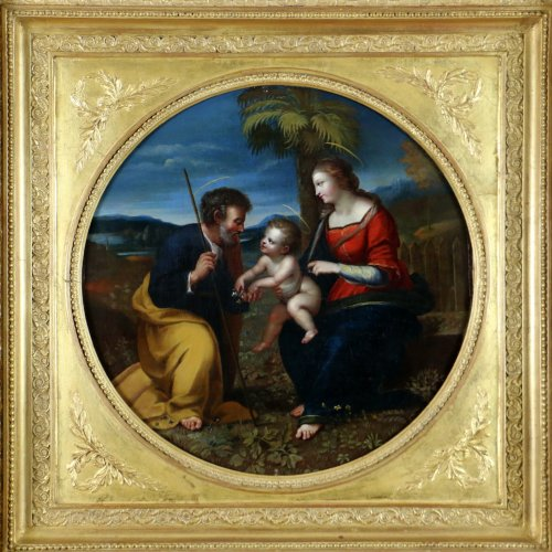 Italian School S17h According Raphael (1483-1520) Holy Family At Palmtree - Paintings & Drawings Style Louis XIV