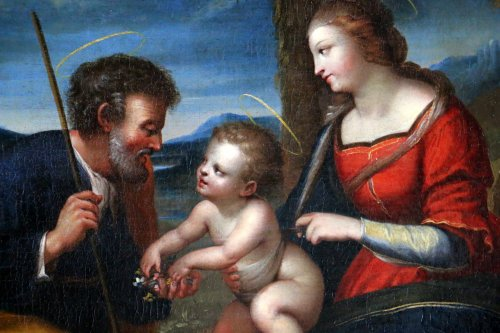 Louis XIV - Italian School S17h According Raphael (1483-1520) Holy Family At Palmtree