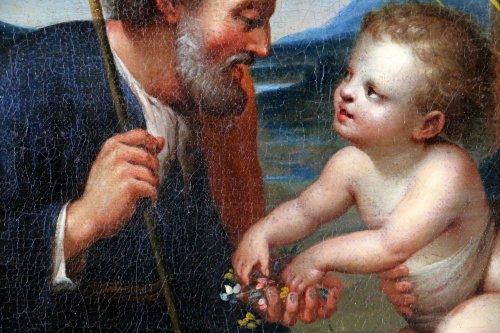Antiquités - Italian School S17h According Raphael (1483-1520) Holy Family At Palmtree