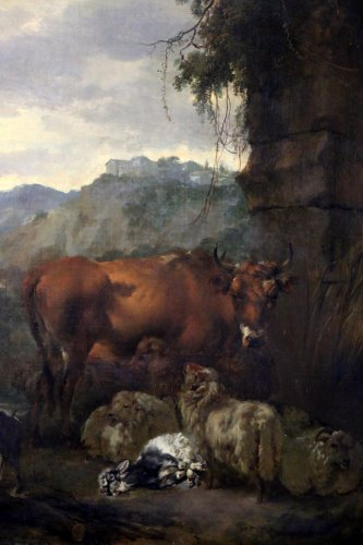 Flock in A Landscape - Attributed to  Adam Pynacker (1622-1673)  -
