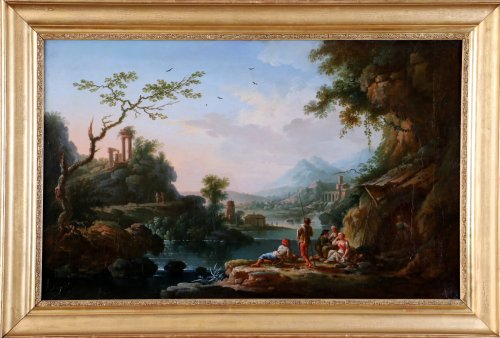 Jean Baptiste Claudot said Claudot From Nancy (1733-1805) Paysage Animé - Paintings & Drawings Style Louis XVI