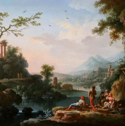 Paintings & Drawings  - Jean Baptiste Claudot said Claudot From Nancy (1733-1805) Paysage Animé