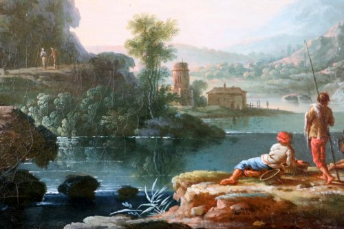 Louis XVI - Jean Baptiste Claudot said Claudot From Nancy (1733-1805) Paysage Animé