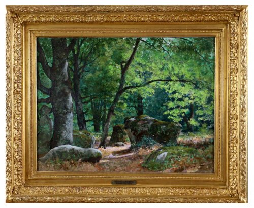 "Tristan Lacroix (1849-1914) , Landscape titled "" Barbizon "" signed and dat"