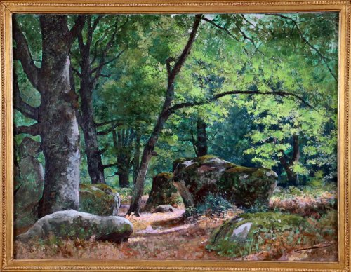 "Tristan Lacroix (1849-1914) , Landscape titled "" Barbizon "" signed and dat - Paintings & Drawings Style"