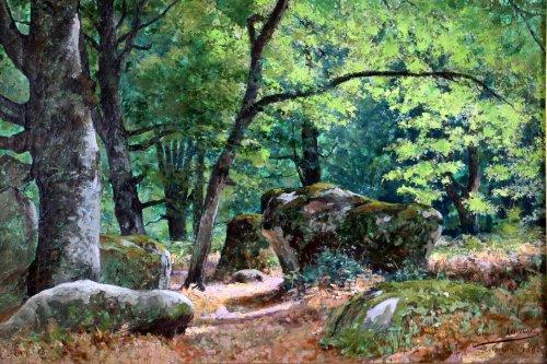 "Paintings & Drawings  -  Tristan Lacroix (1849-1914) , Landscape titled "" Barbizon "" signed and dat"