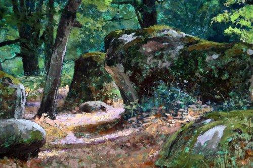 """Tristan Lacroix (1849-1914) , Landscape titled """" Barbizon """" signed and dat -"""