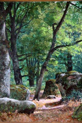 """-  Tristan Lacroix (1849-1914) , Landscape titled """" Barbizon """" signed and dat"""