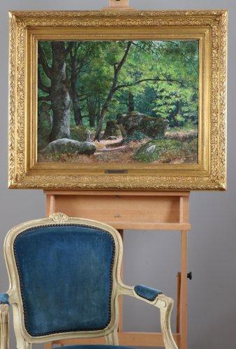 """Antiquités -  Tristan Lacroix (1849-1914) , Landscape titled """" Barbizon """" signed and dat"""