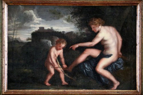 Workshop Filippo Lauri (Rome 1623-1694 ) Venus and Cupid  - Paintings & Drawings Style Louis XIII