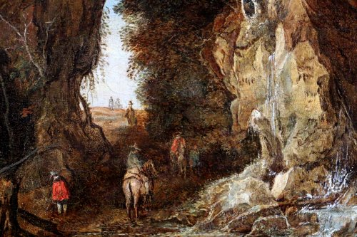 Joos de Momper II (1564-1635) attributed- riders in a landscape -