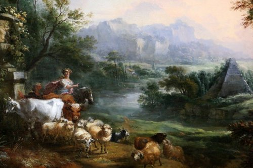 18th century - Jean-Baptiste Lallemand.(Dijon 1716-Paris 1803)-attributed; pastoral scene