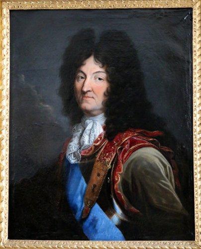 Workshop Hyacinthe Rigaud 1659-1743 - Portrait of Louis XIV - Paintings & Drawings Style Louis XIV