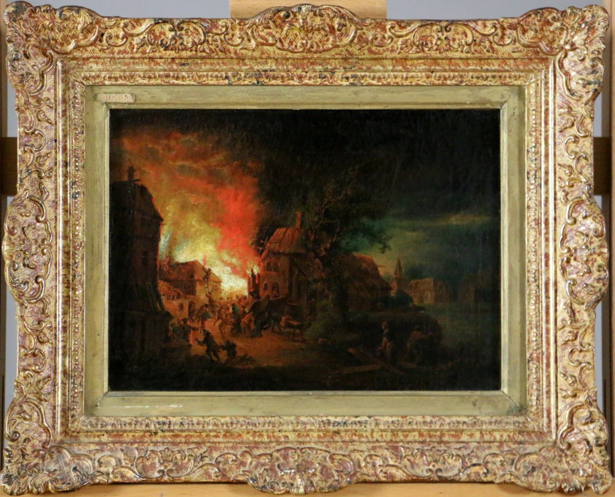 johann georg trautmann 1713 1769 attributed night fire scenes