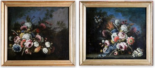 Pair of still lifes with flowers attributed to Giacomo NANI (1698 / 1770)