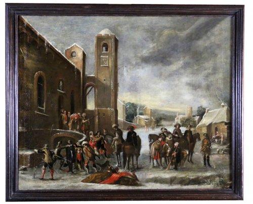 Cornelis de Wael (Antwerp 1592 -Rome 1667) and workshop. Scene of brigandag