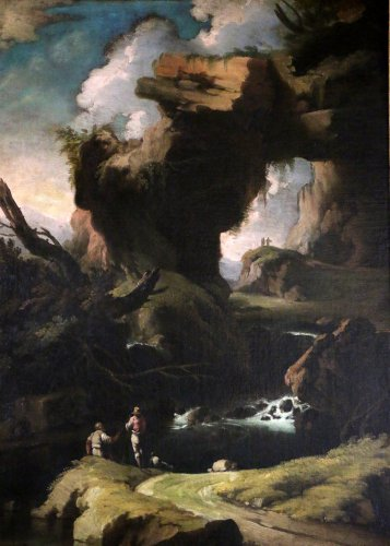 Paintings & Drawings  - Large Landscape attributed to Salvator Rosa (1615-1673) and his workshop.