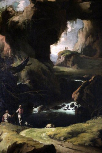 17th century - Large Landscape attributed to Salvator Rosa (1615-1673) and his workshop.