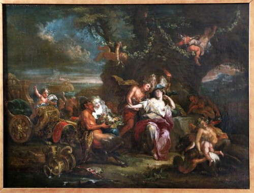 Bacchus and Ariane on the island of Naxos -attributed to Charles Antoine Coypel's Studio - Paintings & Drawings Style Louis XIV