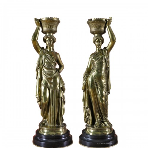 Louis Valentin Elias ROBERT (1821-1874) - Pair of  bronzes on marble base