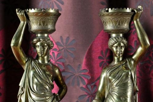 Louis Valentin Elias ROBERT (1821-1874) - Pair of  bronzes on marble base - Sculpture Style Napoléon III
