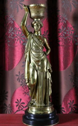Louis Valentin Elias ROBERT (1821-1874) - Pair of  bronzes on marble base -