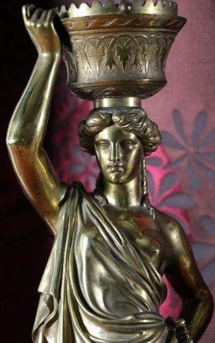 19th century - Louis Valentin Elias ROBERT (1821-1874) - Pair of  bronzes on marble base