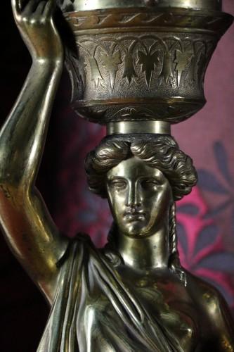 Napoléon III - Louis Valentin Elias ROBERT (1821-1874) - Pair of  bronzes on marble base