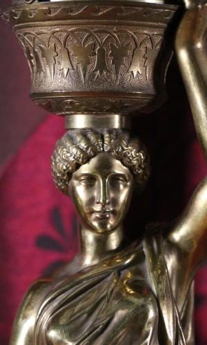 Antiquités - Louis Valentin Elias ROBERT (1821-1874) - Pair of  bronzes on marble base