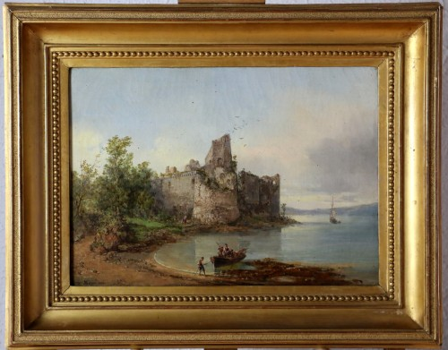 Auguste Mayer (1805-1890) Romantic landscape signed and dated 1882