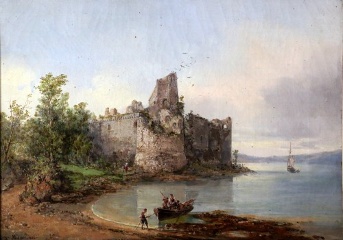 Paintings & Drawings  - Auguste Mayer (1805-1890) Romantic landscape signed and dated 1882