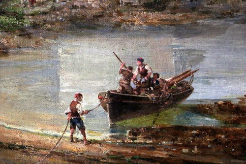 Antiquités - Auguste Mayer (1805-1890) Romantic landscape signed and dated 1882