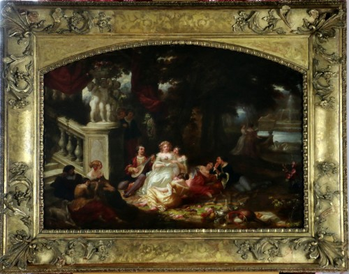 Louis Gabriel Bourbon-Leblanc (1813-1902)  - Romantic scene