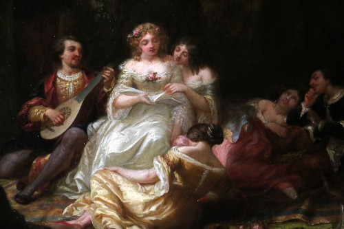 19th century - Louis Gabriel Bourbon-Leblanc (1813-1902)  - Romantic scene