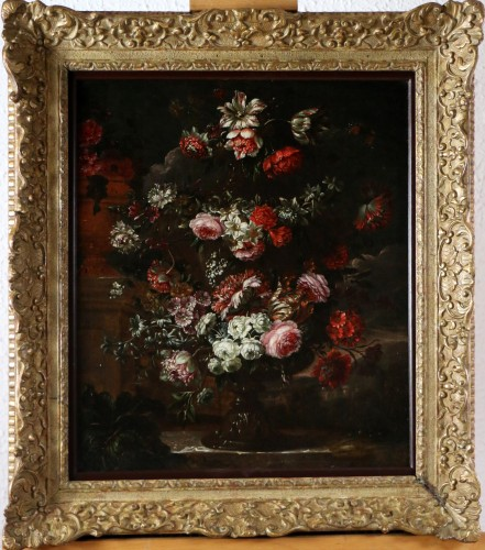 Garland of flowers - attributed to Peter Casteels I says the ancient-17th century - Paintings & Drawings Style Louis XIV