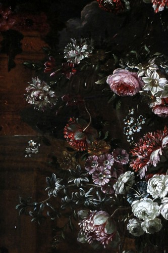 Antiquités - Garland of flowers - attributed to Peter Casteels I says the ancient-17th century