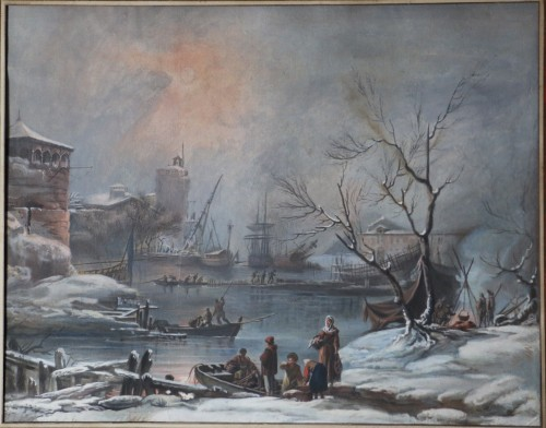 Snow landscape - French School of the 18th century - Paintings & Drawings Style Louis XVI