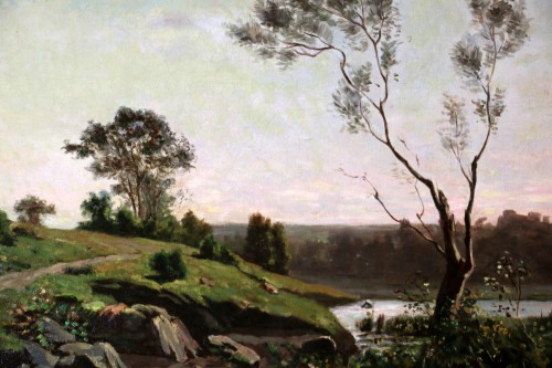 Henri Joseph Harpignies (1819-1916) - Landscape of the Burgundy countryside  -